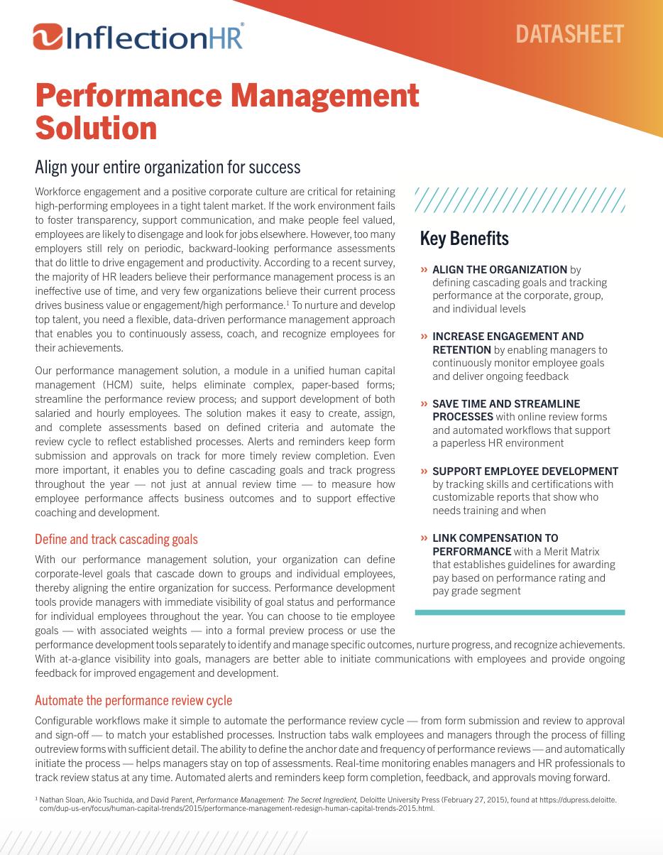 Performance Mangement Solution Datasheet | Inflection HR