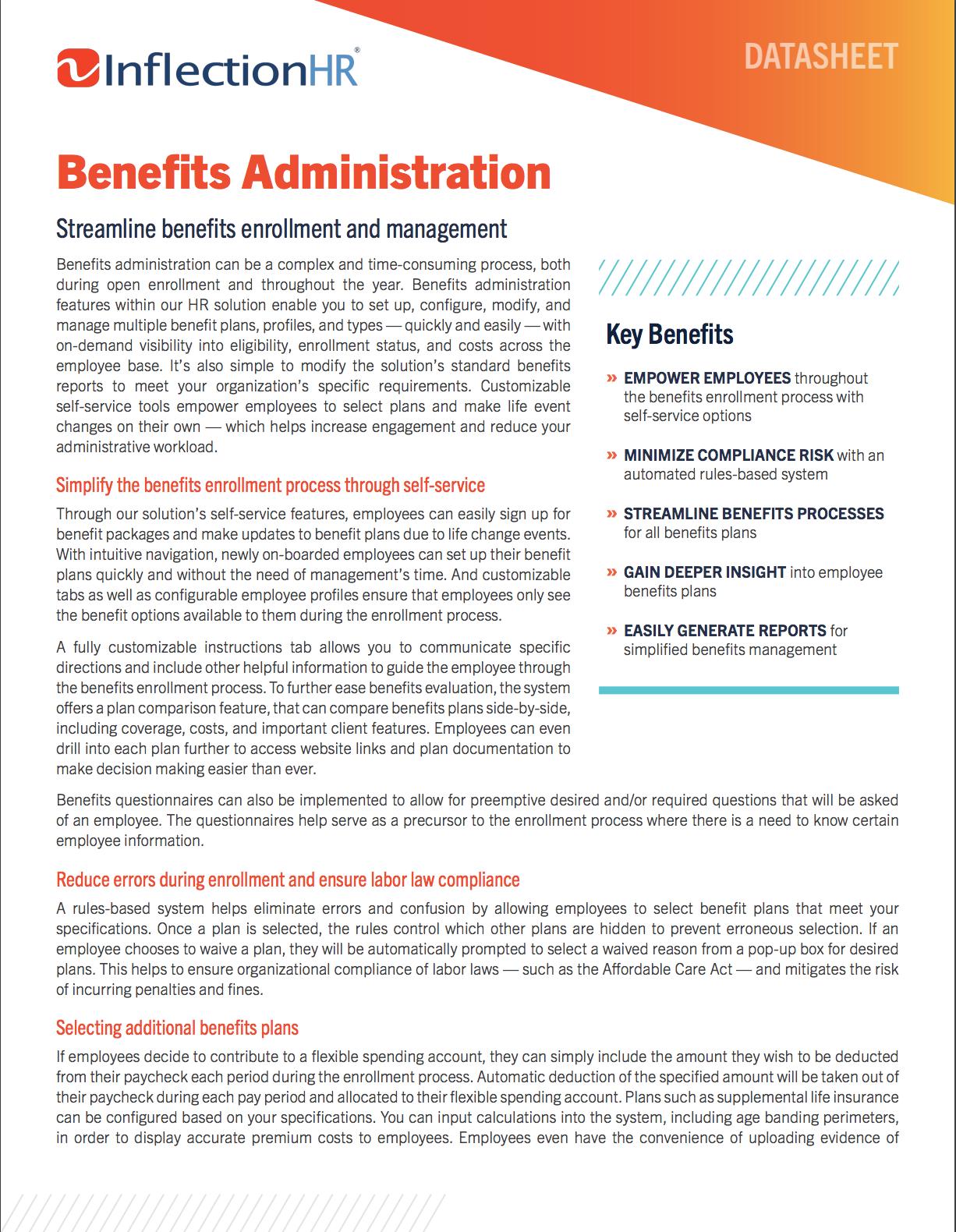 Benefits Administration Solution Datasheet   Inflection HR