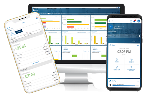 HCM Stack Across Devices |  Cloud HR, Recruitment, Timekeeping, Payroll & Compliance