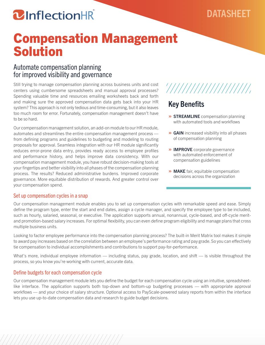 Compensation Management Solution Datasheet | Inflection HR