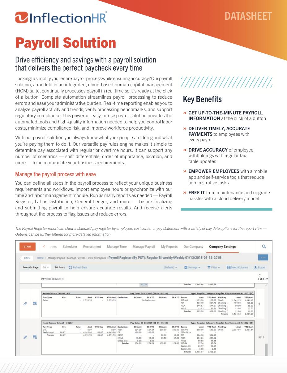 Payroll Solution Datasheet   Inflection HR