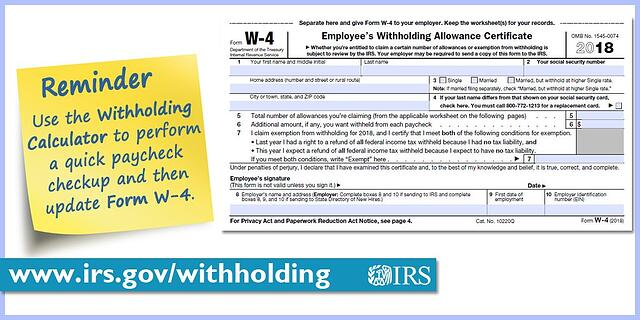 Irs To Encourage Employees To Do A Paycheck Checkup